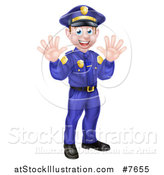 Vector Illustration of a Cartoon Happy Caucasian Male Police Officer Waving with Both Hands by AtStockIllustration