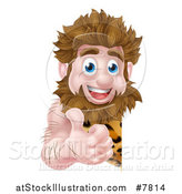 Vector Illustration of a Cartoon Happy Caveman Giving a Thumb up Around a Sign by AtStockIllustration