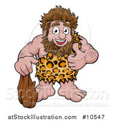 Vector Illustration of a Cartoon Happy Caveman Holding a Club and Giving a Thumb up by AtStockIllustration