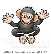 Vector Illustration of a Cartoon Happy Chimpanzee by AtStockIllustration