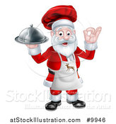 Vector Illustration of a Cartoon Happy Christmas Santa Claus Gesturing Ok, Wearing a Reindeer Apron and Holding a Food Cloche Platter by AtStockIllustration