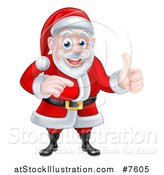 Vector Illustration of a Cartoon Happy Christmas Santa Claus Giving a Thumb up and Pointing to the Right by AtStockIllustration
