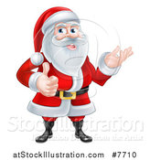 Vector Illustration of a Cartoon Happy Christmas Santa Claus Giving a Thumb up and Presenting by AtStockIllustration