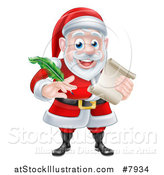 Vector Illustration of a Cartoon Happy Christmas Santa Claus Holding a Parchment Scroll and Quill Pen by AtStockIllustration