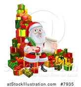Vector Illustration of a Cartoon Happy Christmas Santa Claus Holding a Parchment Scroll and Quill Pen in a Pile of Gifts by AtStockIllustration