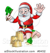 Vector Illustration of a Cartoon Happy Christmas Santa Claus Making a Sand Castle by AtStockIllustration