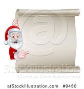 Vector Illustration of a Cartoon Happy Christmas Santa Claus Pointing Around a Scroll Sign by AtStockIllustration
