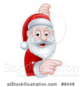 Vector Illustration of a Cartoon Happy Christmas Santa Claus Pointing Around a Sign by AtStockIllustration