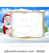Vector Illustration of a Cartoon Happy Christmas Santa Claus Pointing Around a Sign in a Winter Landscape by AtStockIllustration