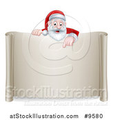 Vector Illustration of a Cartoon Happy Christmas Santa Claus Pointing down over a Scroll Sign by AtStockIllustration
