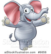 Vector Illustration of a Cartoon Happy Elephant Welcoming with Open Arms by AtStockIllustration