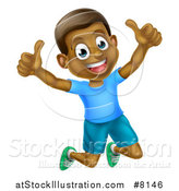 Vector Illustration of a Cartoon Happy Excited Black Boy Jumping and Giving Two Thumbs up by AtStockIllustration