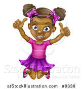 Vector Illustration of a Cartoon Happy Excited Black Girl Jumping and Giving Two Thumbs up by AtStockIllustration