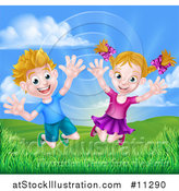 Vector Illustration of a Cartoon Happy Excited Blond Caucasian Boy and Girl Jumping Outdoors by AtStockIllustration