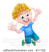 Vector Illustration of a Cartoon Happy Excited Blond Caucasian Boy Jumping and Giving a Thumb up by AtStockIllustration