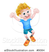 Vector Illustration of a Cartoon Happy Excited Blond Caucasian Boy Jumping by AtStockIllustration