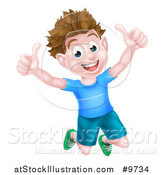 Vector Illustration of a Cartoon Happy Excited Brunette Caucasian Boy Jumping and Giving Two Thumbs up by AtStockIllustration