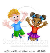 Vector Illustration of a Cartoon Happy Excited White Boy and Black Girl Jumping by AtStockIllustration