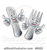 Vector Illustration of a Cartoon Happy Fork and Knife Giving Thumbs up by AtStockIllustration