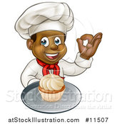 Vector Illustration of a Cartoon Happy Full Length Black Male Chef Holding a Cupcake on a Platter and Gesturing Perfect by AtStockIllustration
