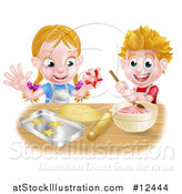 Vector Illustration of a Cartoon Happy Girl and Boy Making Pink Frosting and Star Shaped Cookies by AtStockIllustration