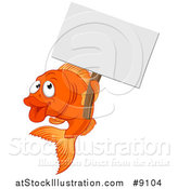 Vector Illustration of a Cartoon Happy Goldfish Holding a Blank Sign by AtStockIllustration