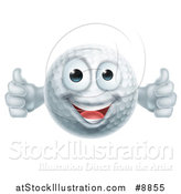Vector Illustration of a Cartoon Happy Golf Ball Character Giving Two Thumbs up by AtStockIllustration