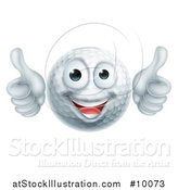 Vector Illustration of a Cartoon Happy Golf Ball Mascot Giving Two Thumbs up by AtStockIllustration