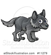 Vector Illustration of a Cartoon Happy Gray Wolf by AtStockIllustration