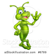 Vector Illustration of a Cartoon Happy Green Alien Waving by AtStockIllustration
