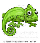 Vector Illustration of a Cartoon Happy Green Chameleon Lizard by AtStockIllustration