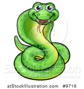 Vector Illustration of a Cartoon Happy Green Cobra Snake by AtStockIllustration