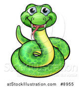 Vector Illustration of a Cartoon Happy Green Coiled Snake by AtStockIllustration