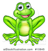Vector Illustration of a Cartoon Happy Green Frog Mascot Sitting by AtStockIllustration