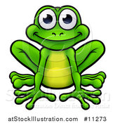 Vector Illustration of a Cartoon Happy Green Frog Sitting by AtStockIllustration