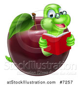 Vector Illustration of a Cartoon Happy Green Graduate Book Worm Reading and Emerging from a Red Apple by AtStockIllustration