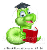 Vector Illustration of a Cartoon Happy Green Graduate Book Worm Reading by AtStockIllustration