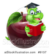 Vector Illustration of a Cartoon Happy Green Graduate Book Worm Reading in a Red Apple by AtStockIllustration