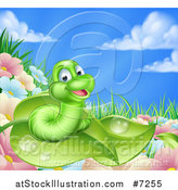Vector Illustration of a Cartoon Happy Green Worm on a Leaf over Flowers in a Meadow by AtStockIllustration