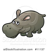 Vector Illustration of a Cartoon Happy Hippo by AtStockIllustration