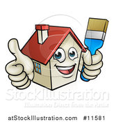 Vector Illustration of a Cartoon Happy Home Mascot Character Giving a Thumb up and Holding a Paintbrush by AtStockIllustration