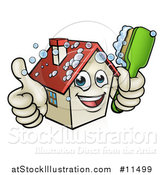 Vector Illustration of a Cartoon Happy House Character Giving a Thumb up and Cleaning Itself with a Brush by AtStockIllustration