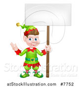 Vector Illustration of a Cartoon Happy Male Christmas Elf Holding a Blank Sign by AtStockIllustration