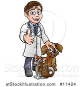 Vector Illustration of a Cartoon Happy May Veterinarian Giving a Thumb up and Standing with a Dog and Cat by AtStockIllustration