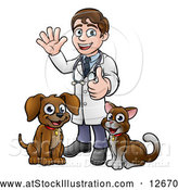 Vector Illustration of a Cartoon Happy May Veterinarian Standing with a Dog and Cat by AtStockIllustration