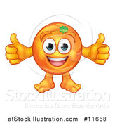Vector Illustration of a Cartoon Happy Orange Mascot Character Giving Two Thumbs up by AtStockIllustration