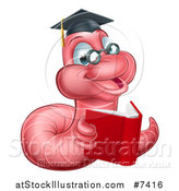 Vector Illustration of a Cartoon Happy Pink Graduate Book Worm Reading by AtStockIllustration