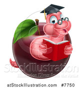 Vector Illustration of a Cartoon Happy Pink Graduate Book Worm Reading in a Red Apple by AtStockIllustration