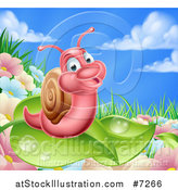 Vector Illustration of a Cartoon Happy Pink Snail on a Leaf over Flowers in a Meadow by AtStockIllustration