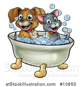 Vector Illustration of a Cartoon Happy Puppy Dog and Cat Soaking in a Bubble Bath by AtStockIllustration